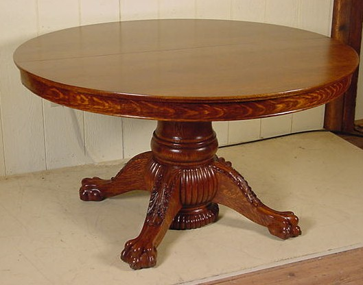 54 Quot Round Oak Claw Foot Table W 6 Leaves