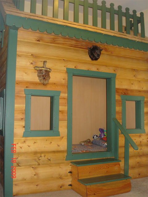 The Exterior Is Covered In Real Log Cabin Siding And Roof Has Cedar Shake Shingles Tony Built Bed Sections Then Embled It