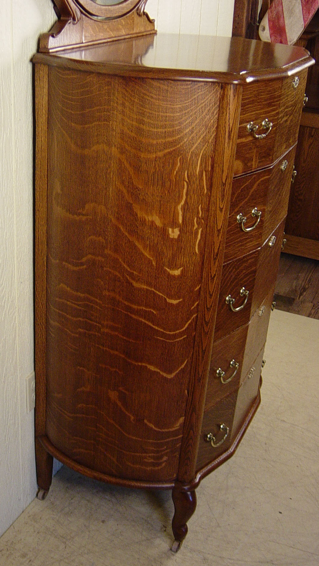 Very Unusual Oak Chest Of Drawers W Mirror