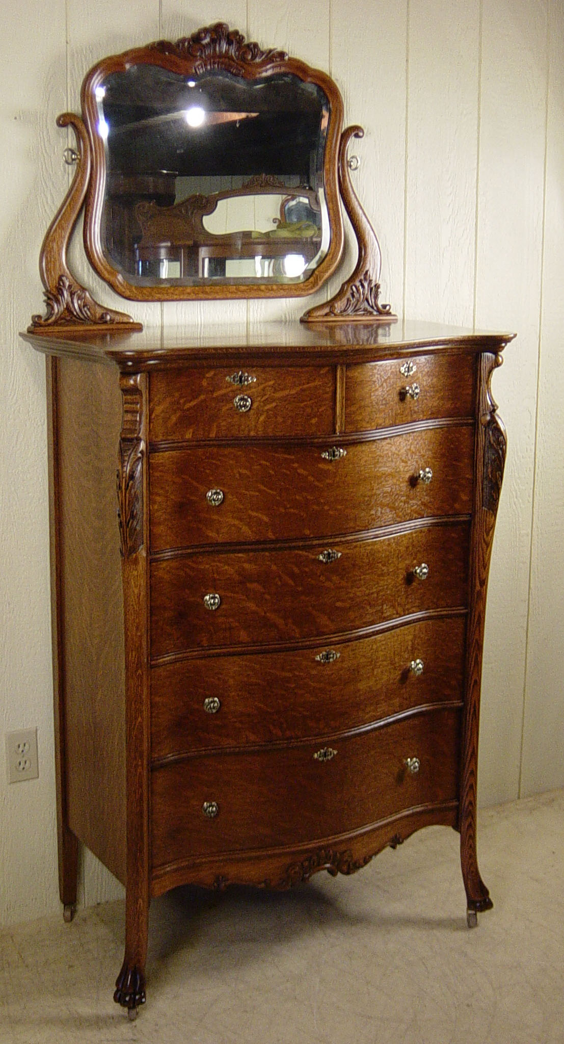Oak Chest Of Drawers With Beveled Mirror