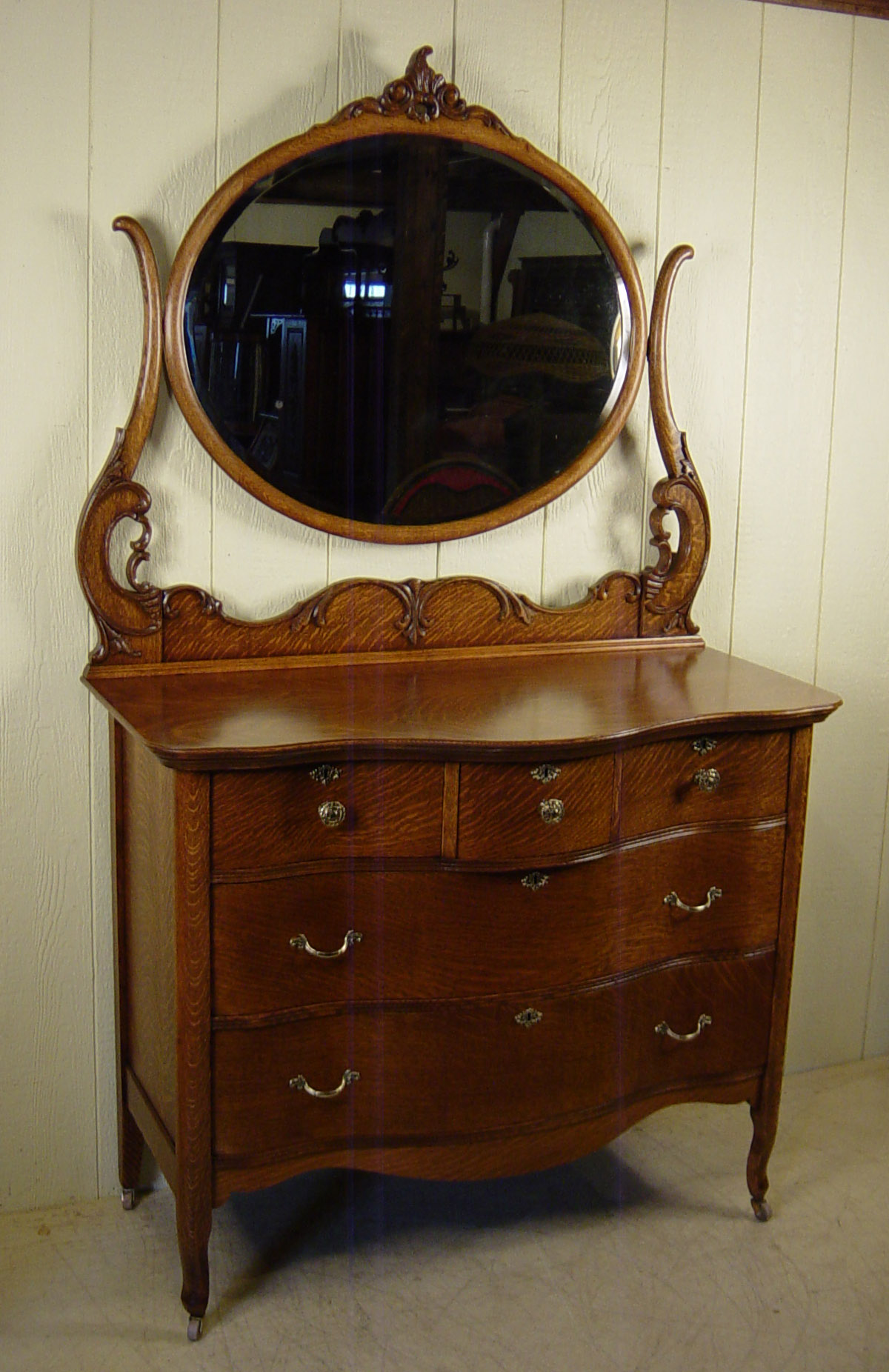 Serpentine Oak Dresser With Mirror