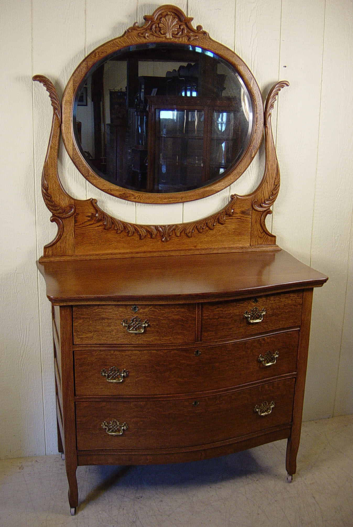 Oak Bow Front Dresser W Oval Beveled Mirror