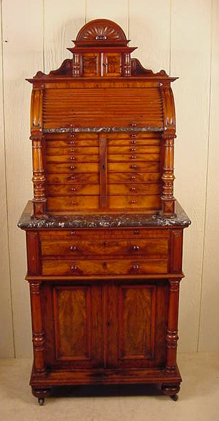 Walnut & Marble Victorian Dental Cabinet