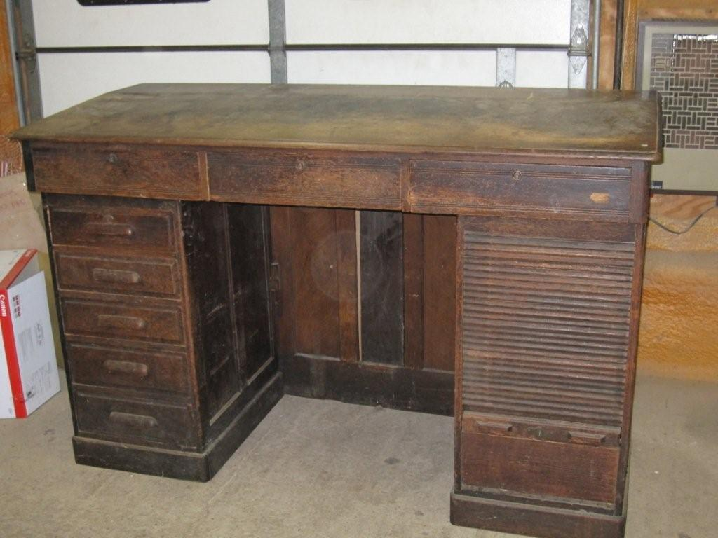 Condition of Railroad desk before refinishing - OAK RAILROAD DESK