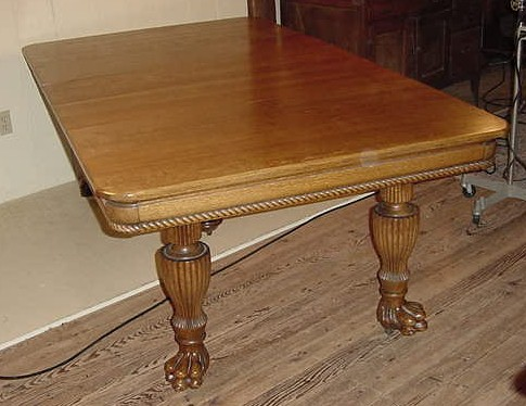 """46"""" Square Oak Claw foot table w/ 4 original 12 1/2"""" leaves"""