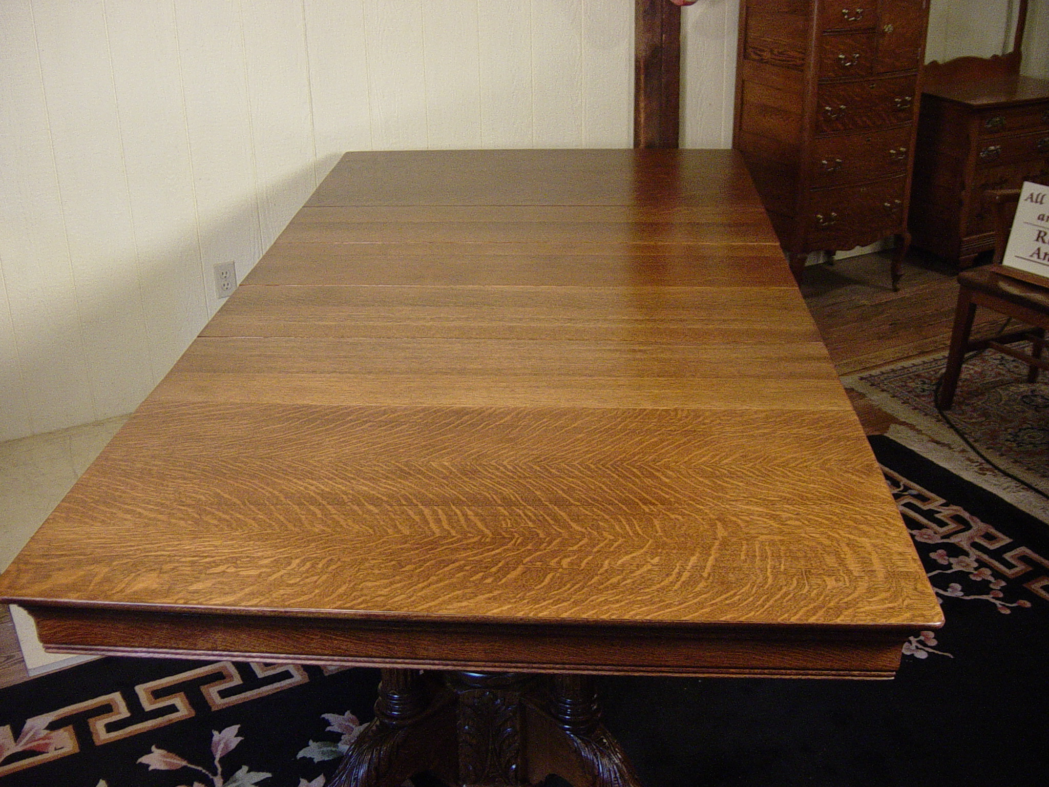 48 Quot Square Oak Claw Foot Table With 4 12 Quot Original