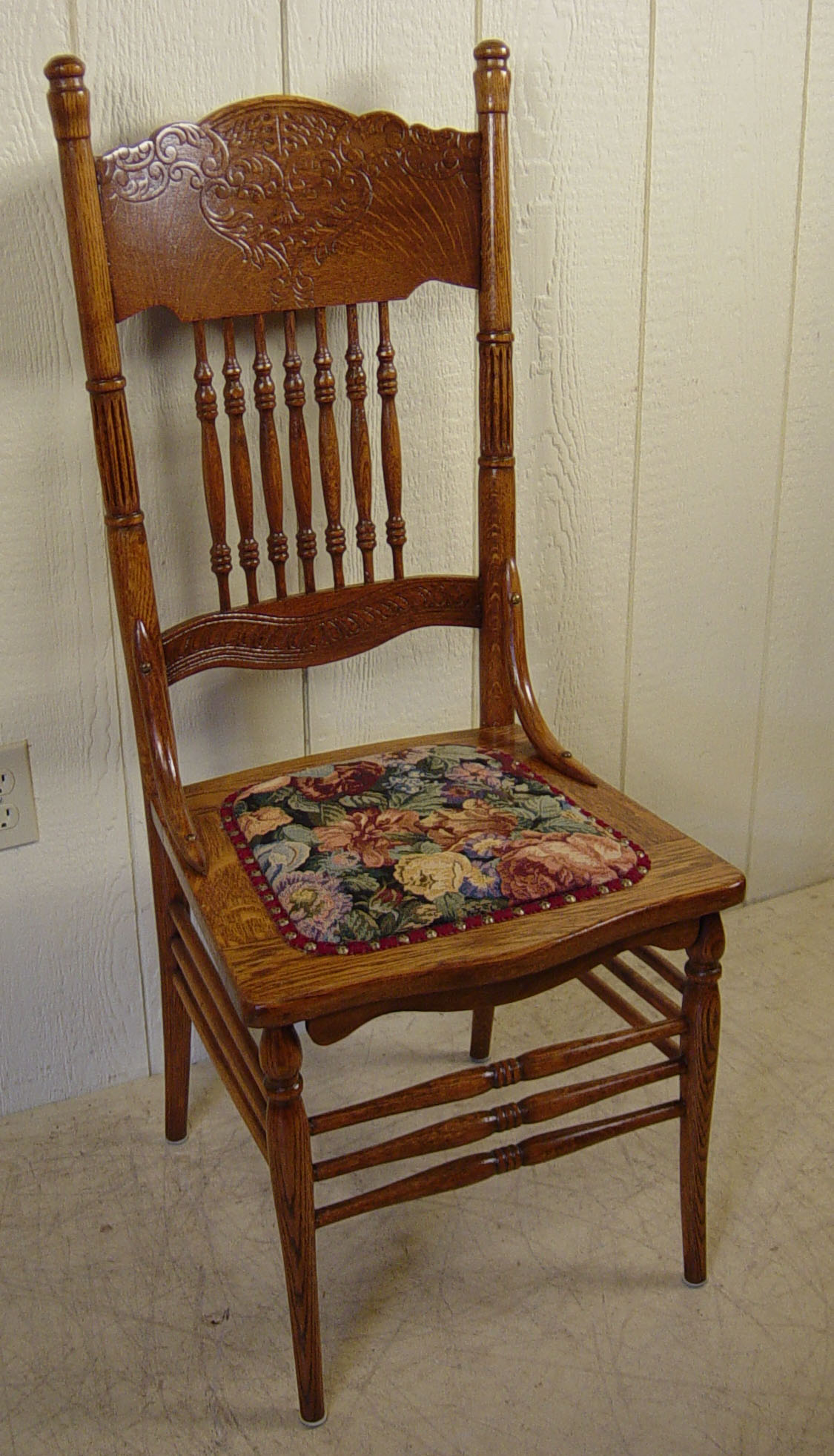 Pressed Back Dining Chairs ~ Set of oak press back chairs