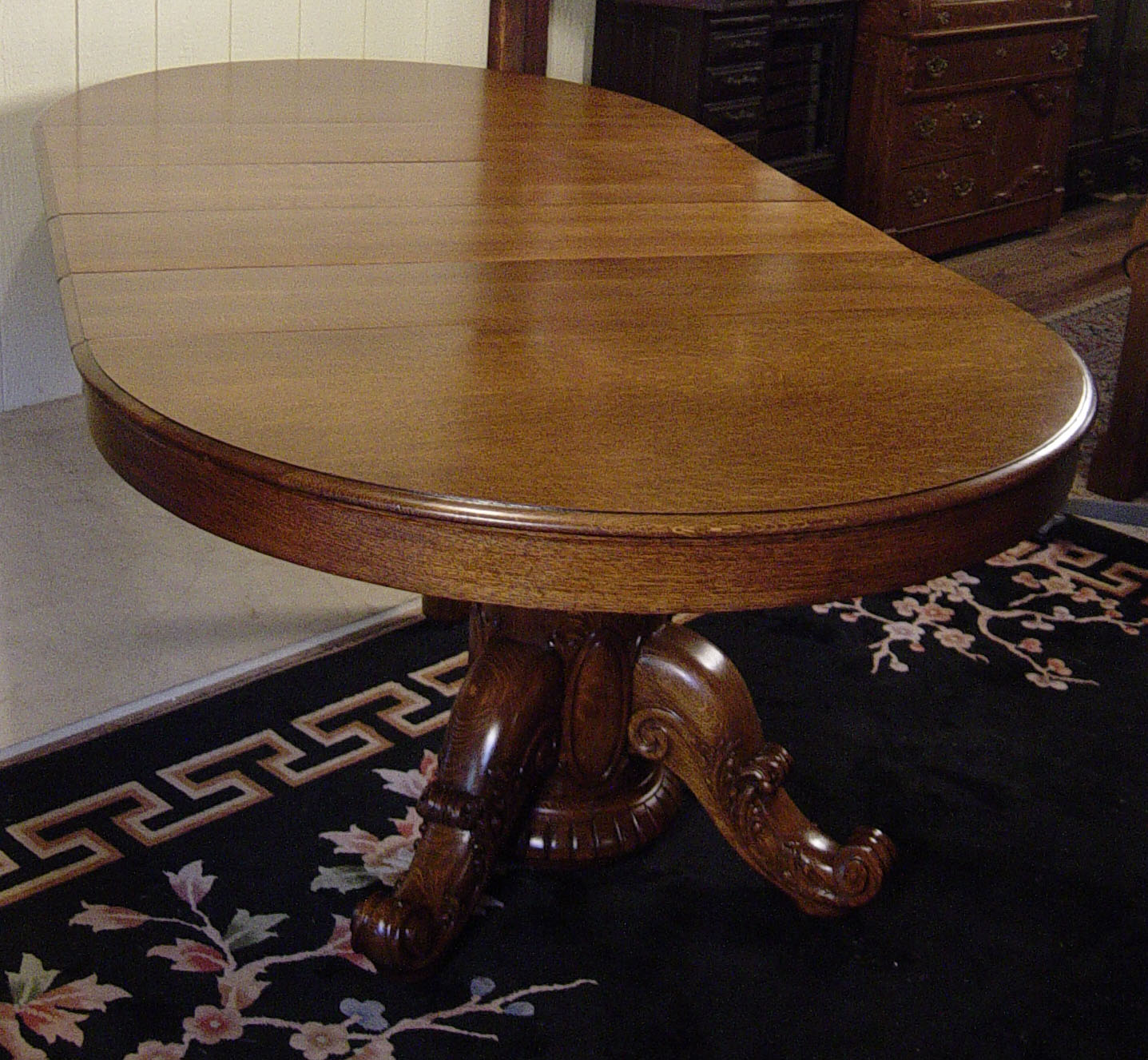 52 u0026quot  round victorian oak dining room table with 4 leaves