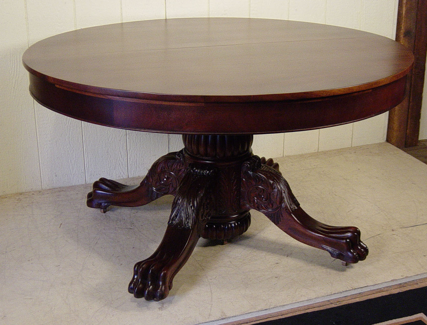 54quot Round Mahogany Claw foot Table with 4 orignal 16quot leaves : DSC00004 from www.dougschmittantiques.com size 1723 x 1311 jpeg 400kB