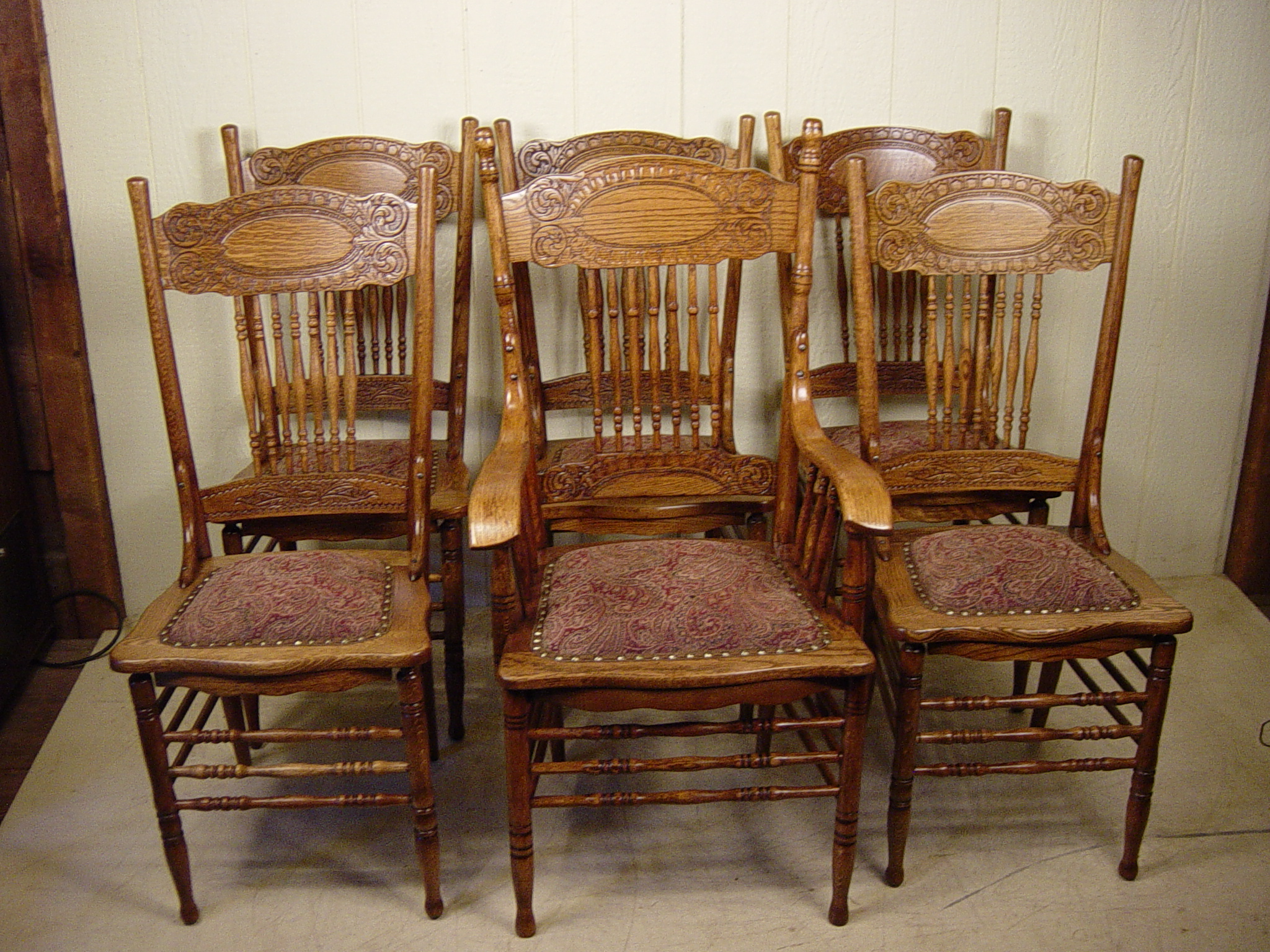 set of 6 oak larkin dining chairs with arm chair rh dougschmittantiques com larsen furniture suppliers larsen furniture denmark