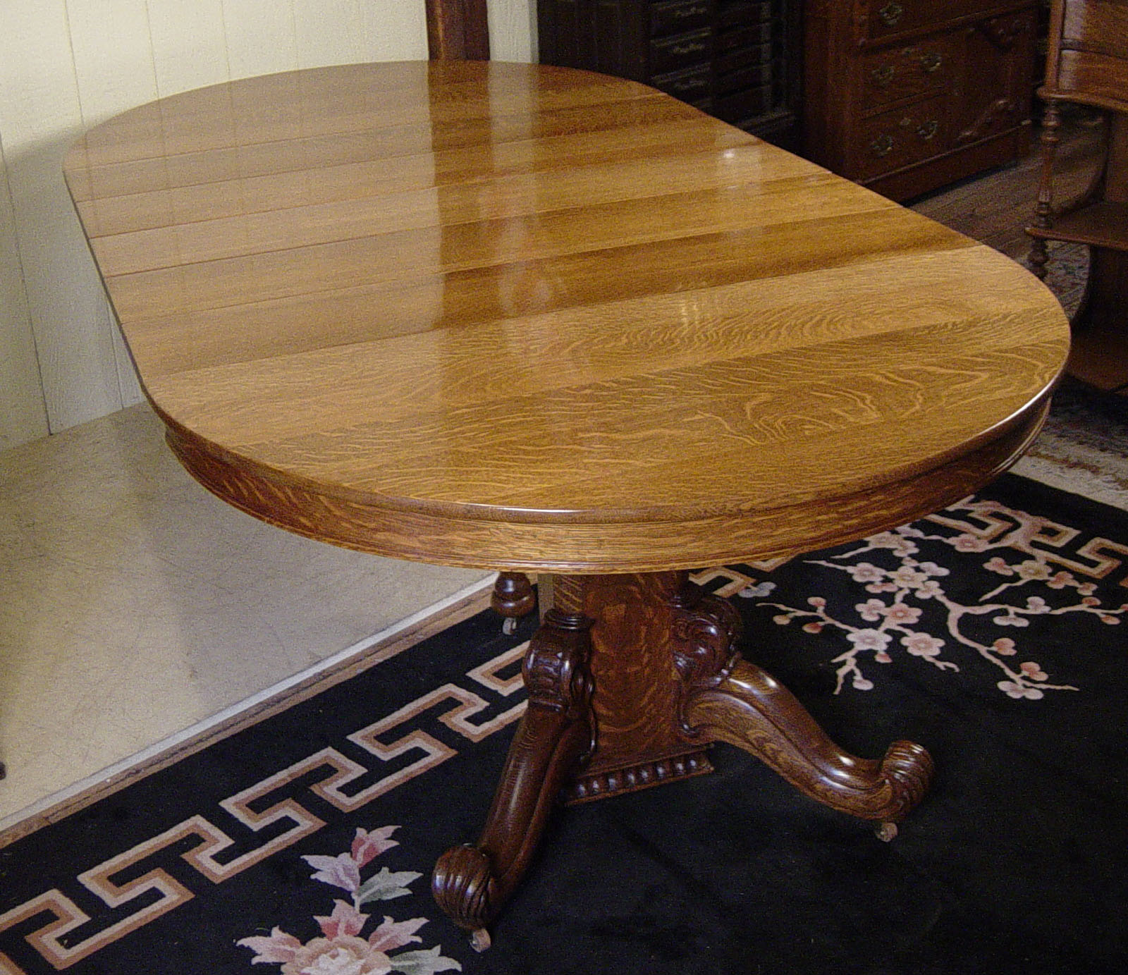 "Hastings Table Co. 48"" Round Oak Table With 5 Orignal Leaves"