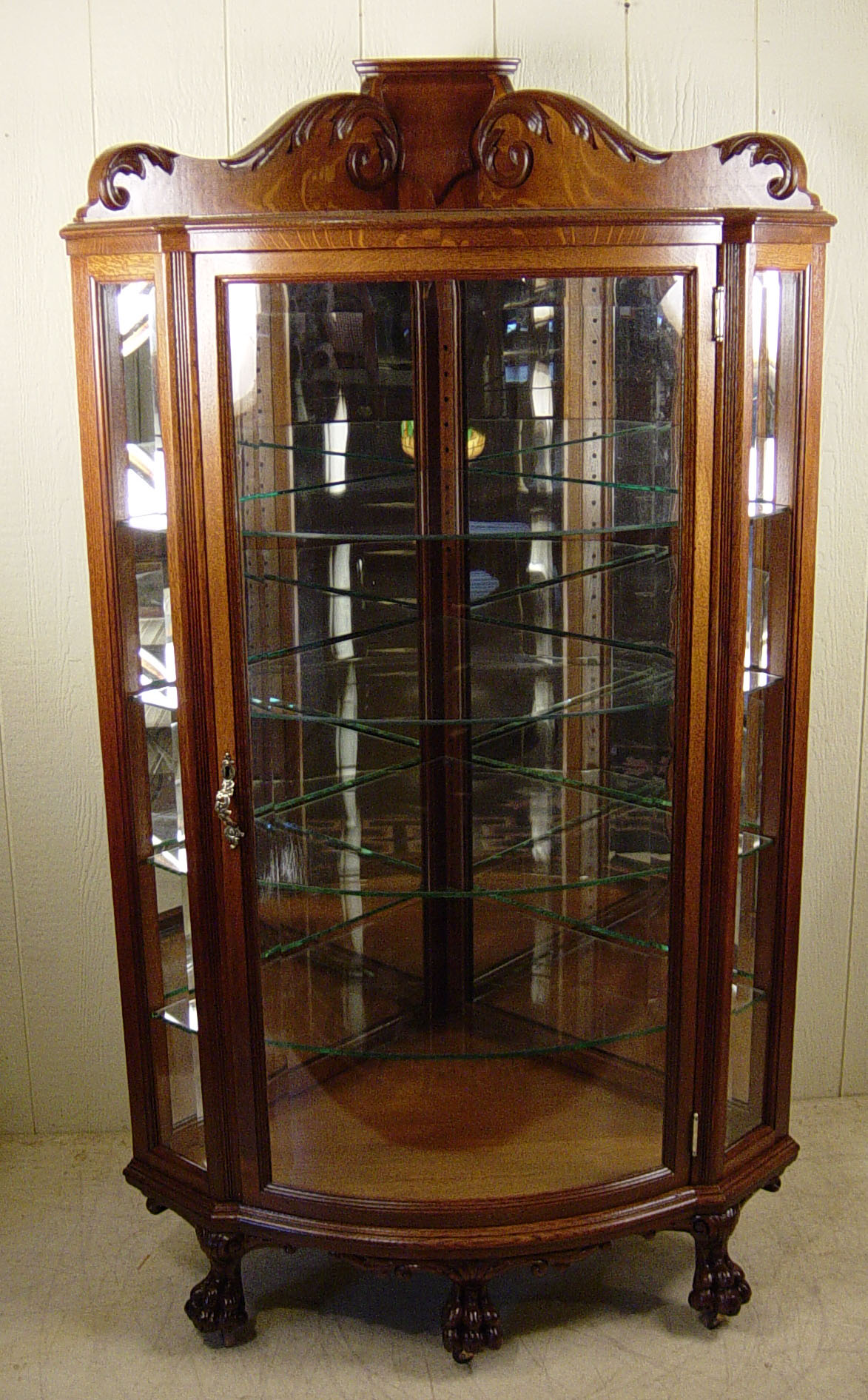 Genial Oak Corner China Cabinet With Beveled Glass Door And Side Panels