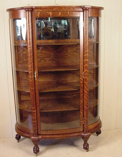 Oak Curved Glass China Cabinet - Larkin Co. Oak Curved Glass China Cabinet