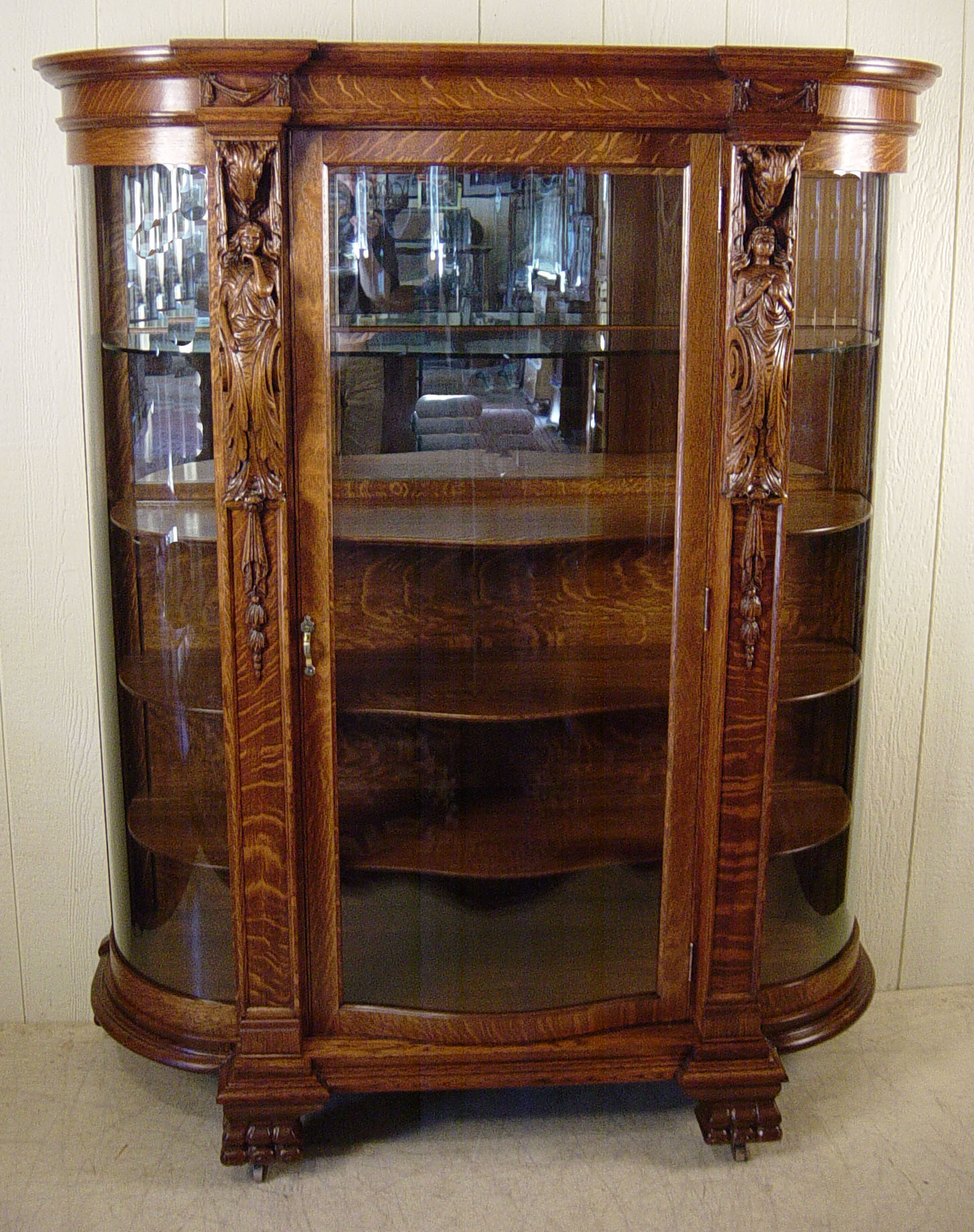 Curved Glass Oak China Cabinet With Serpentine Door Carved Women Ram S Heads