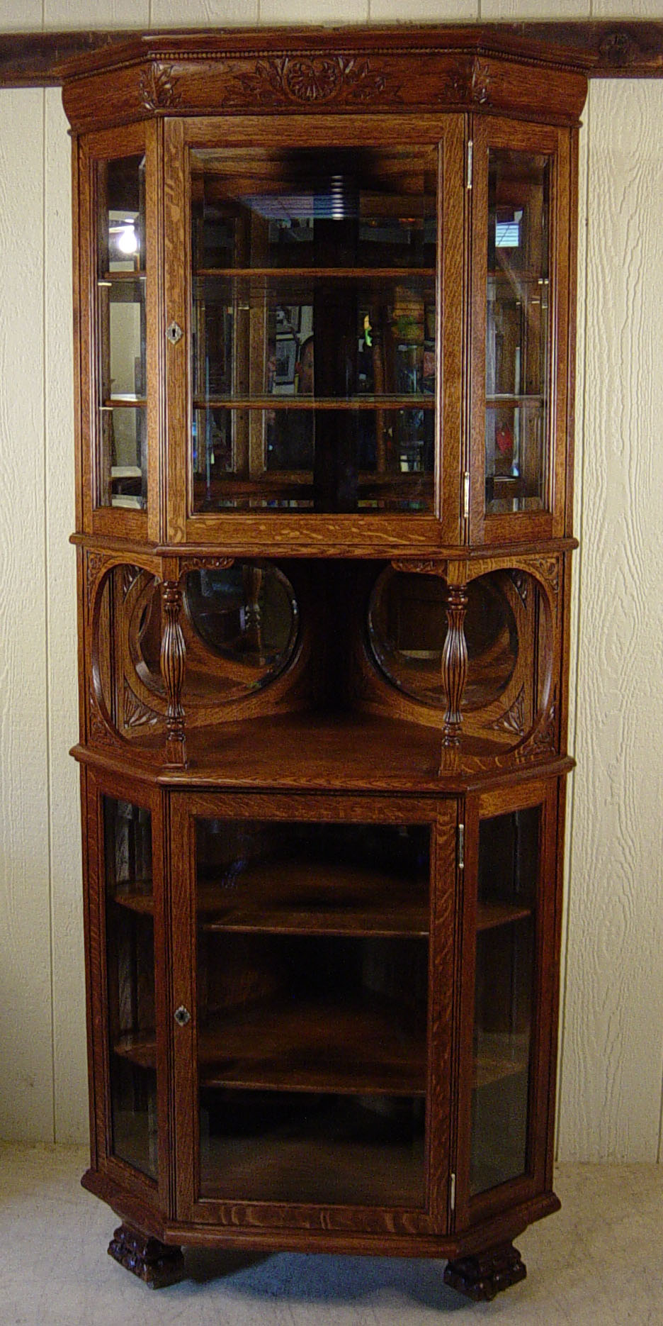 Tall Corner Cabinets Furniture: Oak Beveled Glass Corner China Cabinet With Oval Beveled