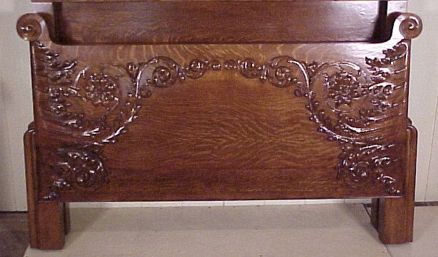 Heavily Carved Quarter Sawn Oak Bed