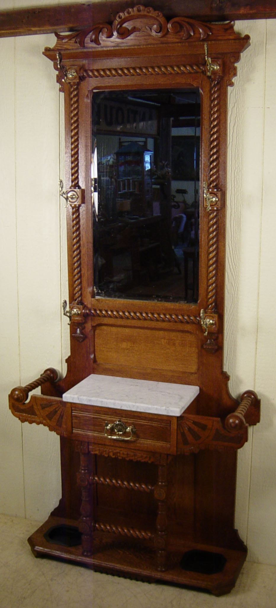 Very Rare Victorian Oak Hall Stand