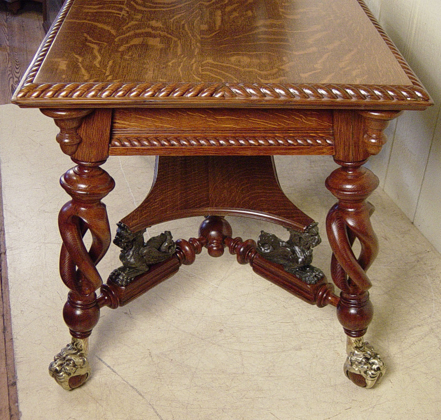 Merklen Brothers Oak Library Table
