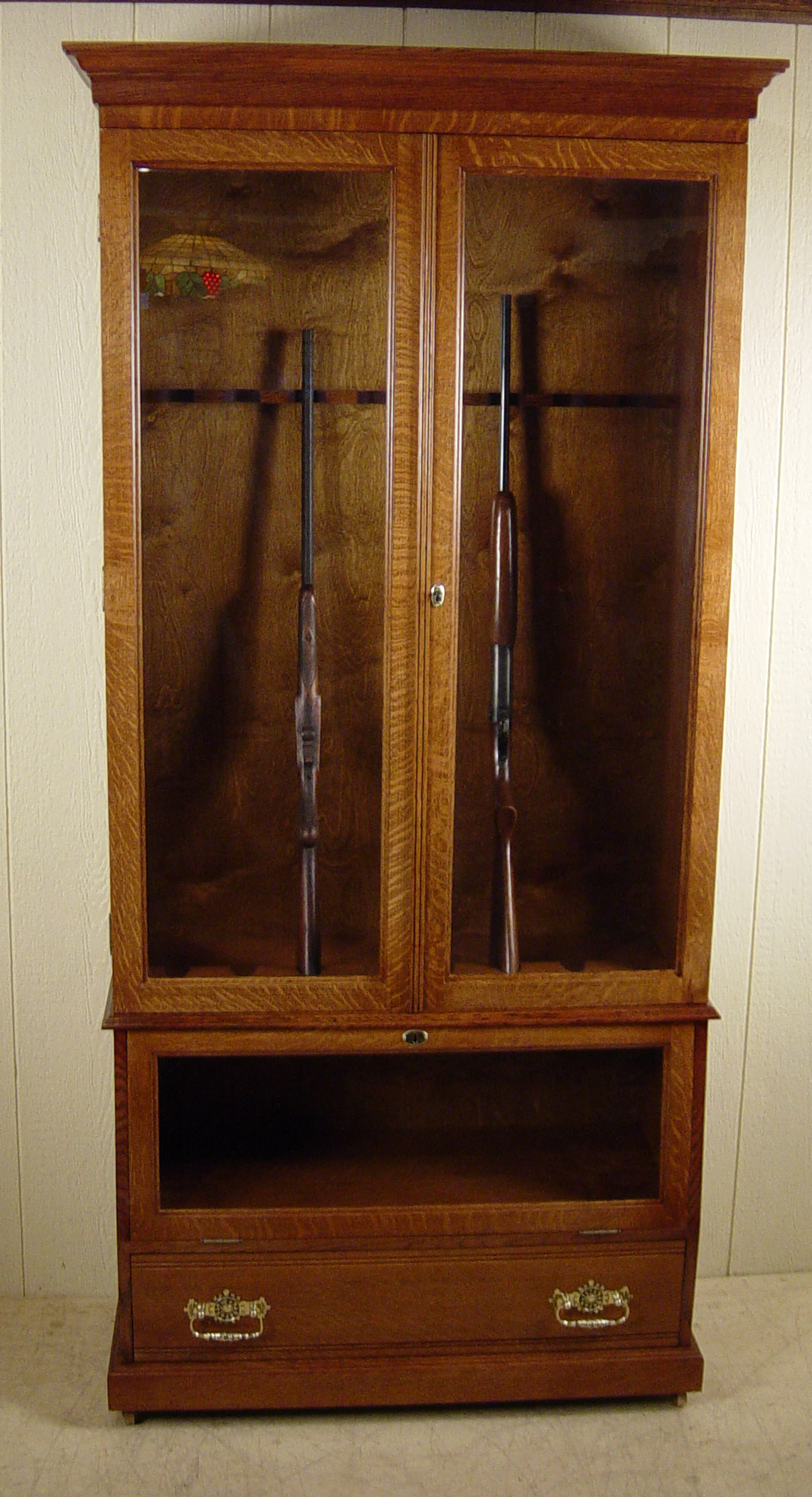 Custom made quartered oak gun cabinet - Custom made cabinet ...